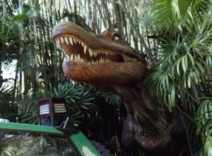 A velociraptor awaits at the entrance to Universal Islands of Adventure's VelociCoaster Ride