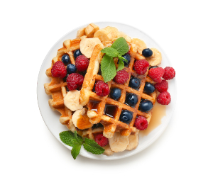 Waffle covered with fruits